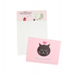Mini papier à lettre & enveloppe assorti Happiness Chat heureux