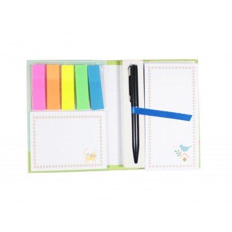 Pack bloc de notes marque page index couleur et stylo intégré - ours