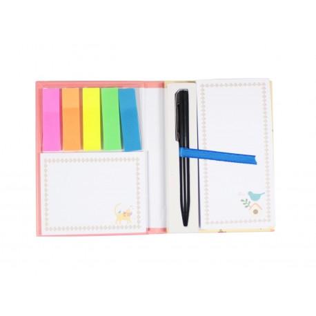 Pack bloc de notes marque page index couleur et stylo intégré - chat