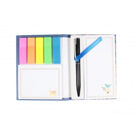 Pack bloc de notes marque page index couleur et stylo intégré - oiseau
