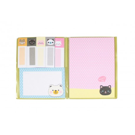 Kit de bloc notes memo et marque pages repositionnables Chat kawaii