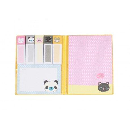 Kit de bloc notes memo et marque pages repositionnables ourson kawaii