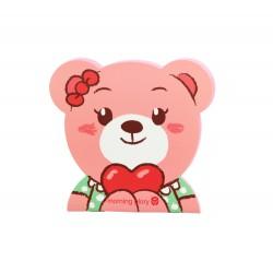 Carnet kawaii ourson rose avec coeur et noeud de papillon