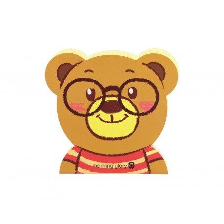 Carnet kawaii ours brun avec les lunettes et le haut en rayures