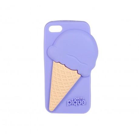 Coque étui téléphone souple pour iphone 5 ou iphone SE kawaii gelato glace en 3D violet lavande