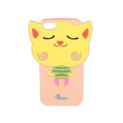 Coque étui téléphone souple pour iphone 5 3D à motif chat volant souriant rose