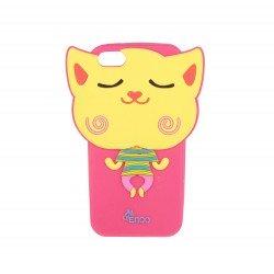Coque étui téléphone souple pour iphone 5 ou iphone SE 3D à motif chat volant souriant fushia