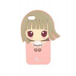 Coque étui téléphone souple pour iphone 5-5s fille kawaii cheveux dans les vents fond couleur rose