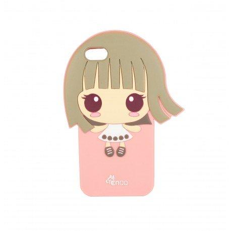 Coque étui téléphone souple pour iphone 5-5s et iphone SE fille kawaii cheveux dans les vents fond couleur rose