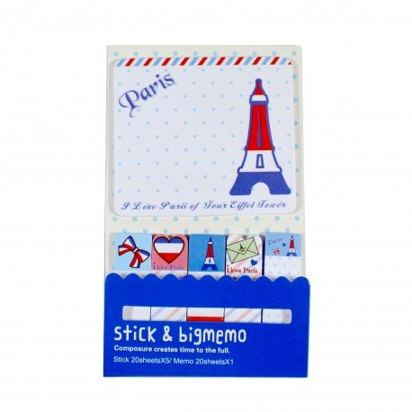 Kit de bloc notes et marque pages repositionnables Paris bleu