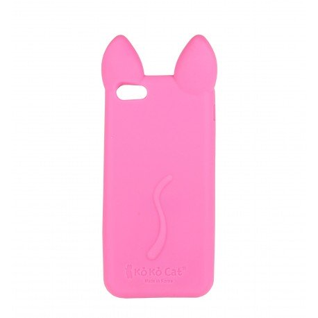 coque tui t l phone souple pour iphone 5 et iphone se chat rose fushia avec les oreilles. Black Bedroom Furniture Sets. Home Design Ideas
