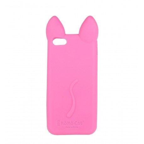 Coque étui téléphone souple pour iphone 5 chat rose fushia avec les oreilles
