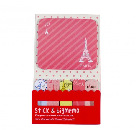 Kit de bloc notes et marque pages repositionnables Paris rose