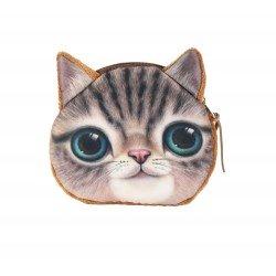 Pochette porte monnaie kawaii chat brun tigré aux yeux verts