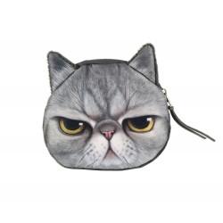 Pochette porte monnaie kawaii chat gris pas content