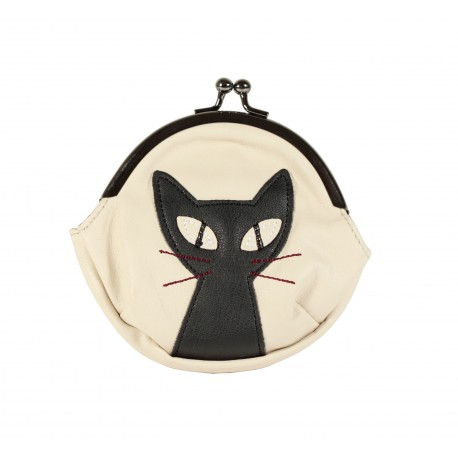 Pochette bourse fermoir Clip porte monnaie kawaii chat noir