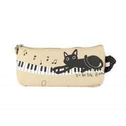 Pochette trousse chat et piano