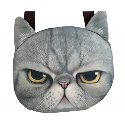 Grand sac porté épaule chat gris kawaii mécontent