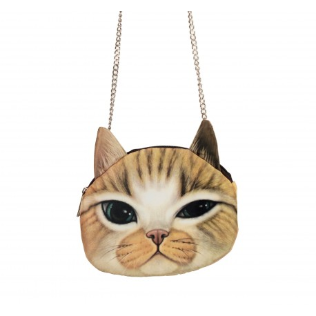 Sac pochette à chaîne kawaii bouille de chat gentleman yeux verts
