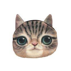 Sac pochette à chaîne kawaii bouille de chat brun tigré yeux verts