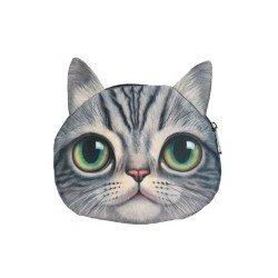 Sac pochette à chaîne kawaii bouille de chat gris tigré grands yeux verts