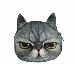 Sac pochette à chaîne kawaii bouille de chat gris mécontent