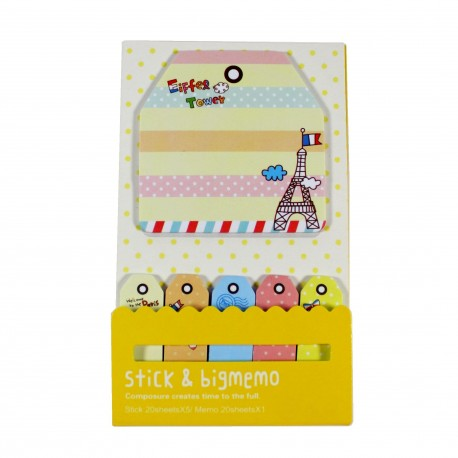 Kit de bloc notes et marque pages repositionnables Paris citron