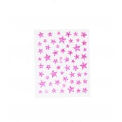 Stickers ongles étoiles pailletées roses