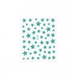Stickers ongles étoiles pailletées vertes