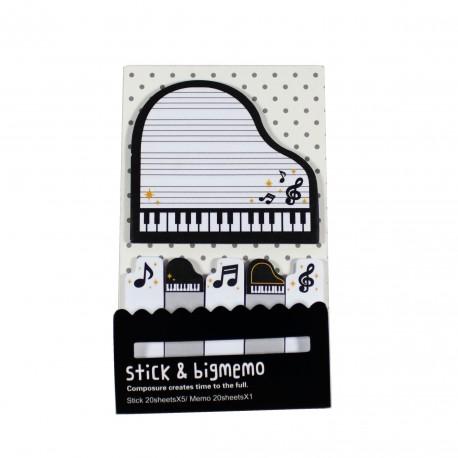 Kit de bloc notes et marque pages repositionnables Piano