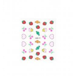 Stickers ongles kawaii ultime fraise cerise et cupcake
