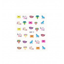 Stickers ongles kawaii ultime licorne et diamant