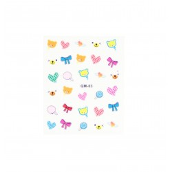 Stickers ongles kawaii ours coeur noeuds et bonbon