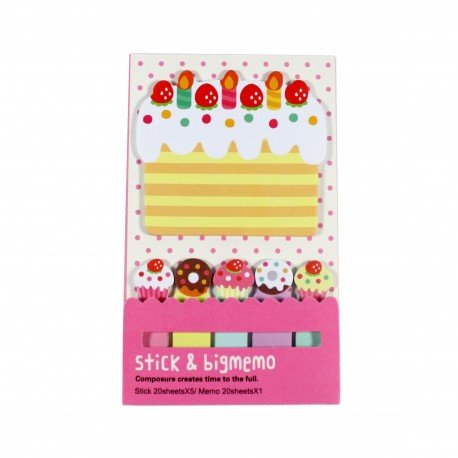 Kit de bloc notes et marque pages repositionnables Gateau
