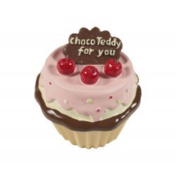 Boîte à bijoux kawaii en forme de cupcake jaune et rose