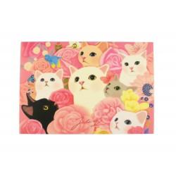 Carte postale illustration Jetoy chats dans les fleurs