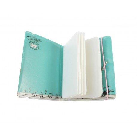 Porte cartes kawaii - chat mignon et piano - bleu mélodie
