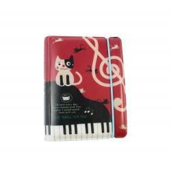 Porte cartes kawaii - chat mignon et piano - rouge et noir