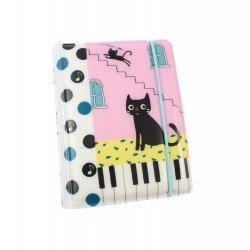 Porte cartes kawaii - chat mignon et piano - maison rose