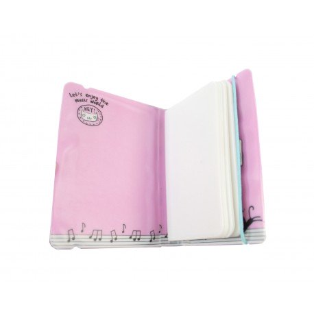 Porte cartes kawaii - chat mignon et piano - maison rose