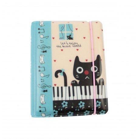 Porte cartes kawaii - chat mignon et piano - enjoy the music world