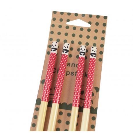 Baguettes kawaii Panda mignon en bambou couleur rouge et petits pois blancs