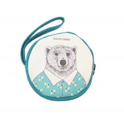 Porte monnaie rond kawaii bleu Ours en chemise