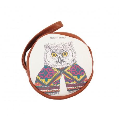 Porte monnaie rond kawaii marron Hibou en pull couleur