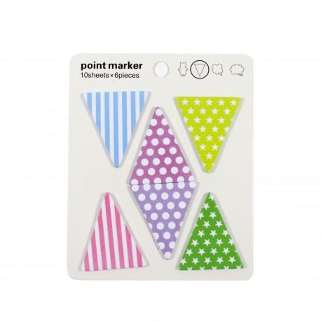 Marque pages repositionnables index drapeaux triangles en couleur et à motif
