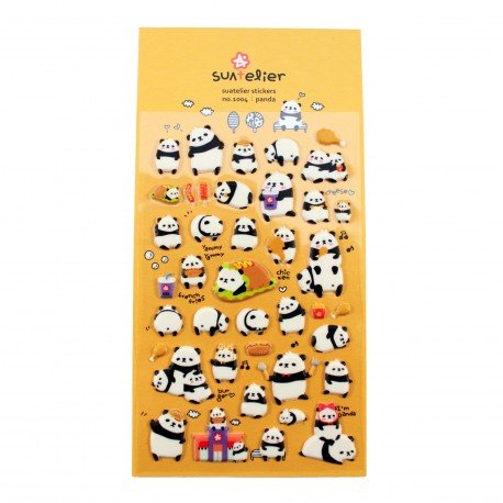 Sticker en relief panda gourmand