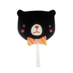 Éventail kawaii ours noir