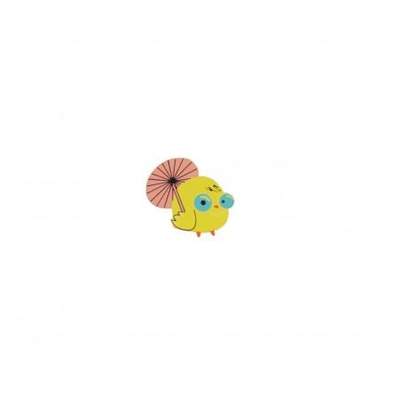 Badge kawaii petit poussin jaune et parapluie