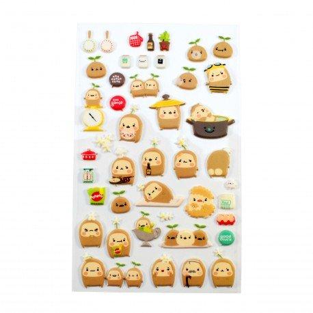 Sticker en relief petit bonhomme de pommes de terre smiley