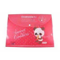 Pochette documents A4 kawaii Coo Panda rouge